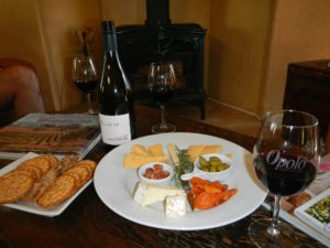 enjoy complimentary wine and cheese platters upon your arrival at orchard hill farm bed and brekfast